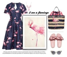 """""""Flamingo"""" by little-vogue ❤ liked on Polyvore featuring Draper James, Puma, CÉLINE, Pink, dress and flamingo"""