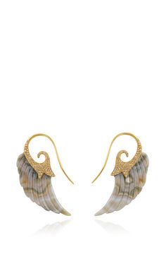 Fly Me To The Moon Brown Diamond Wing Earrings by Noor Fares for Preorder on Moda Operandi