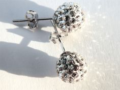 Sterling Silver Earrings with White Crystal Glitter Ball