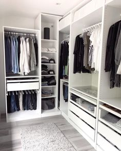 A round-up of the best closet makeovers using the IKEA Pax system with hacks to make it look custom and solutions for creating the most functional closet. Bedroom Closet Design, Master Bedroom Closet, Closet Designs, Ikea Pax Closet, Ikea Wardrobe, Wardrobe Storage, Small Closet Space, Small Closets, Open Closets