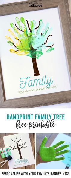 Make an adorable family handprint tree {great gift idea} – It's Always Autumn Family Tree Art, Free Family Tree, Family Tree For Kids, Family Family, Family Art Projects, Family Crafts, Diy Family Tree Project, Easy Homemade Gifts, Diy Gifts