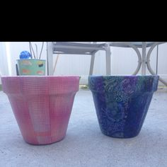 I decoupaged these flowerpots