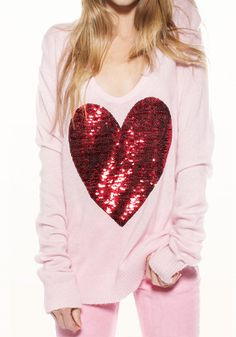 Sequins Heart Pattern Knit - Pink