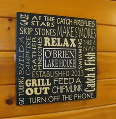 Word Art Subway Style Sign for The Cabin Lake by NorthCoastSign, $59.00