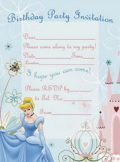 Free printable purple and pink Cinderella party invitation Party