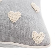 Decorated with french knot embroidered hearts this vintage inspired filled cushion comes in a light natural colour, crafted with a blend of soft cotton and wool and features a removable cover and plump polyester filling. French Knot Embroidery, Embroidery Hearts, Basic Embroidery Stitches, Embroidery Flowers Pattern, Simple Embroidery, Hand Embroidery Designs, Embroidery Kits, Creative Embroidery, Japanese Embroidery