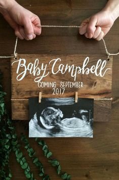 Baby Announcement Wood Sign - Baby Reveal - Pregnancy Announcement - new baby - parents to be - wood sign - baby nursery - reveal wood sig - baby shower - # Vogue Kids, After Baby, Baby Coming, Pregnancy Photos, Pregnancy Info, Pregnancy Announcements, Baby Pregnancy, Baby Announcement Facebook, Pregnancy Announcement To Husband