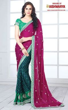 Add grace and charm to your appearance in this beautiful pink & green georgette party wear saree.. at only Rs. 2250/- (INR)  Grab it soon! Buy Indian Saree Online at : http://www.aishwaryadesignstudio.com/half%20and%20half%20sarees/15808-party-wear-light-weight-multicolor-saree.aspx