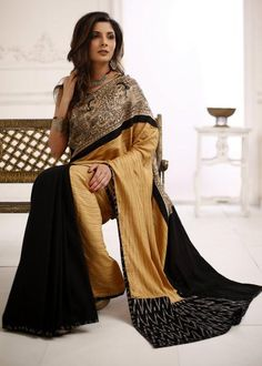 Exclusive striped pure silk saree with Madhubani hand painting with black cotton silk pleats