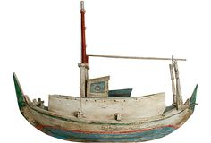 N.P. Trent Antiques  Large Painted Model Boat