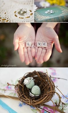 cute picture! using your engagement ring to spell LOVE!