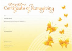Naming Certificate - Yellow Butterflies design. Purple Butterfly, Butterfly Design, Gallery Cafe, Art Gallery, Naming Ceremony, Moving Boxes, Name Day, My Sunshine, Sunshine Coast
