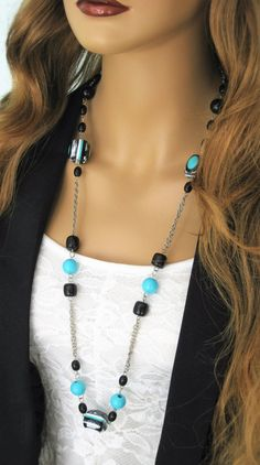 Long Black Necklace Long Blue Beaded Necklace by RalstonOriginals