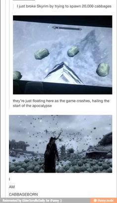 Breaking Skyrim but seriously that looks fun. It reminds me of the time I was playing an fps with my friend and he spawned in a giant Shrek head. I still have nightmares till this day.