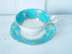 Vintage Turquoise and Gold Gilt Teacup