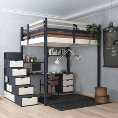 As the leading designer of mezzanine beds since we offer evolutive and durable furniture. It can be taken down and reassembled at least 20 times and provides a simple alternative way of gaining the extra, few square meters you lack. Loft Beds For Small Rooms, Small Room Design Bedroom, Home Room Design, Bedroom Loft, Adult Loft Bed, Mezzanine Bed, Loft Bed Plans, Bunk Bed Designs, Loft Spaces