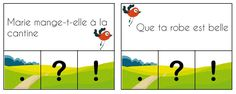 French clip cards: kinds of sentences (interrogative, affirmative, exclamative). Choose the right punctuation – great for practicing fluency. Read In French, French Kids, How To Speak French, French Teacher, Teaching French, Phrase Interrogative, Kinds Of Sentences, Montessori, French Grammar