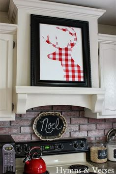Printable in Plaid Deer Head Silhouette | Free Christmas Decor~Get the 8 x 10 in three colors at foxhollowcottage.com