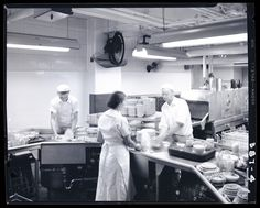 Employees working in the kitchen of Pope's Cafeteria in 1953. Mac Mizuki Photography Studio Collection | Missouri History Museum #cooking #kitchen