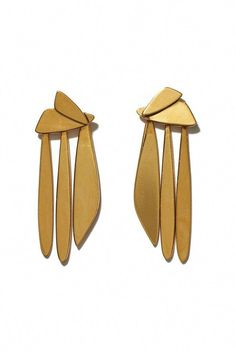 Gold-plated brass architectural earrings with hanging drops Gold-plated brass Drop: Ships in days Please note that all sale items are final sale Real Gold Jewelry, Gold Jewelry Simple, Keep Jewelry, Clay Jewelry, Gold Jewellery, Jewellery Earrings, Mommy Jewelry, Jewelry Making, Golden Jewelry