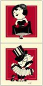 Accordian Man and Dancing Girl Print Set by Vahalla Studios