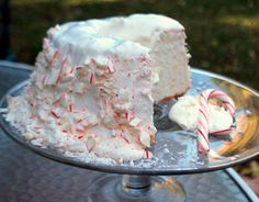 Candy Cane Angel Food Cake with homemade whipped cream icing