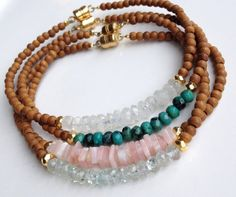 Sandalwood Beaded Bracelets, Pink Peruvian Opals Beads, Moonstone Beads, Aquamarine Beads, Boho Chic Stacking Layering Friendship Bracelets on Etsy, $35.00