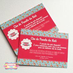 convite chá de panela floral azul