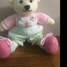 Sock Yarn Pinafores and Cardigans plus Little Bear Scarf Teddy Bear Knitting Pattern, Knitted Teddy Bear, Teddy Bear Toys, Knitting Patterns, Teddy Bears, Yarn Dolls, Knitted Dolls, Crochet Dolls, Swatch