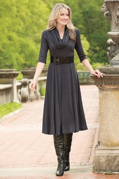 Scoopneck Knit Dress with Infinity Loop Scarf| Chadwicks of Boston
