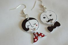 Mr and Mrs shrink plastic earrings FREE P&P by MrsMonkeyIsCrafty, £3.00