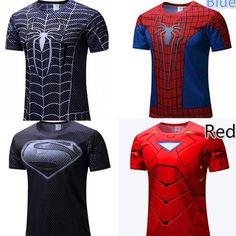 Spiderman T Shirts Men 3D Printed T-shirts Compression Fitness Blck Short Sleeve Tops Summer Superman