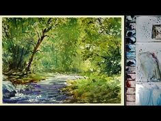 Watercolor Landscape Painting : The Forest Stream - YouTube