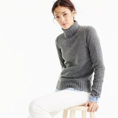 Ribbed turtleneck in Italian cashmere