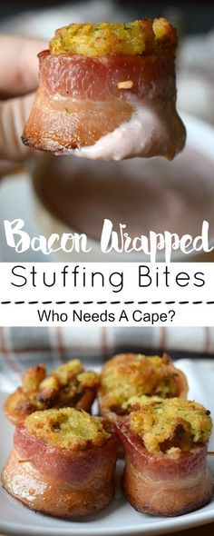 Bacon Wrapped Stuffing Bites are a wonderful holiday appetizer! Use up leftover stuffing and wrap thick flavorful bacon around for the perfect treat.