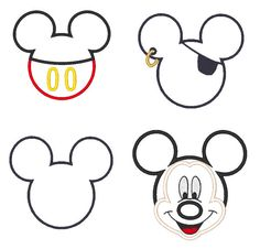 Mickey Mouse Applique Embroidery Design Set - Instant Download