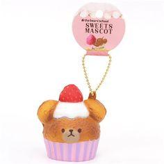 white cream brown bear pink cupcake squishy cellphone charm - Squishies - kawaii shop modeS4u