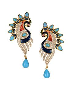 Peacock Earrings with Turquoise Blue Stones - Buy Love Bird Earrings Online | Exclusively.in