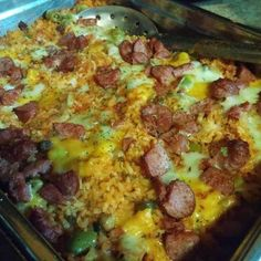 Baked Puerto Rican Rice with Smoked Sausage! 5.00 stars, 2 reviews. @allthecooks #recipe #casserole #rice #dinner #sausage #mexican