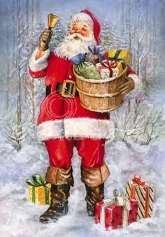 Santa in the snow with Christmas gifts.