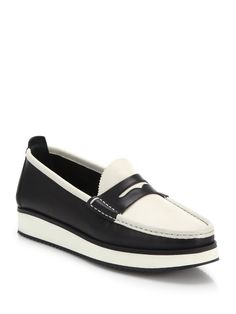 Rag & Bone Tanja Two-Tone Leather Loafers in Black (black-white)