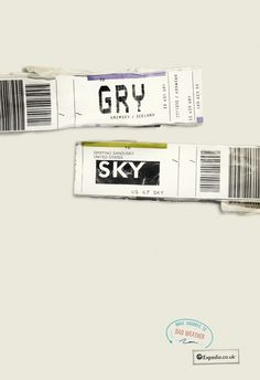 Brilliant Travel Ads - New campaign by Expedia uses airport code tags as copy.