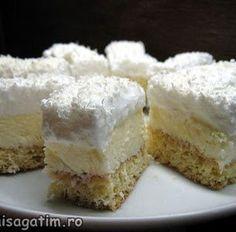 Prajitura Fulg de nea - Hai să gătim cu Amalia Romania Food, Romanian Desserts, Mcdonalds, Vanilla Cake, Caramel, Cheesecake, Deserts, Food And Drink, Sweets