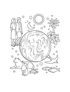 the creation coloring page for kids bible lds ldsprimary http - Coloring Pages Primary Lessons