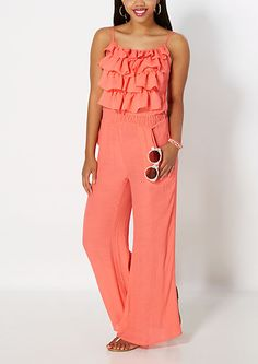 5c5f31a1374 Coral Ruffled Flounce Jumpsuit