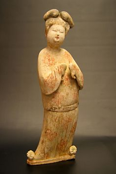 "Tang Sculpture of a Fat Lady - DK.111 Origin: Shaanxi Province - 'Xi'an' Circa: 618 AD to 907 AD Dimensions: 19.5"" (49.5cm) high Collection: Chinese Art Style: Tang Dynasty Medium: Terracotta Condition: Very Fine"