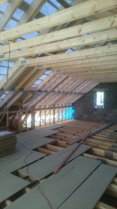 Inside attic truss roof