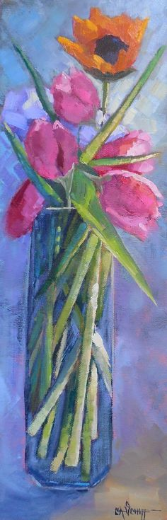 Tall Stems by Carol Schiff - A unique floral painting featuring tulips and sunflower. Vango Art, Stems, Original Art, The Originals, Studio, Painting, Drift Wood, Trunks, Painting Art