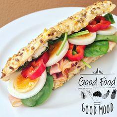 Fitness bageta se šunkou Diet Breakfast, Good Mood, Sandwiches, Food And Drink, Fitness, Paninis, Weight Watcher Breakfast