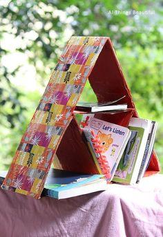 diy pyramid cardboard organiser, crafts, how to, organizing, Book Organiser